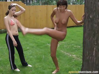Naked workout in backyard