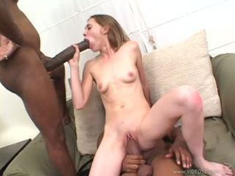 Dark dick lover Cindy Sterling gags on a hard...