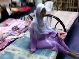 Arab gal wearing hijab is getting naughty with...