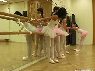 Young Euro ballerinas show off their tight tits...