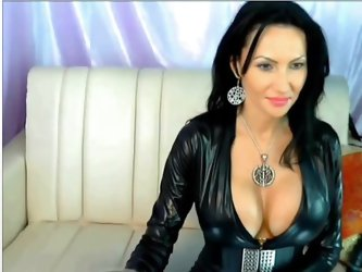 This amateur hot black hair chick in latex...