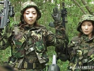 These two sexy Japanese women are in training...